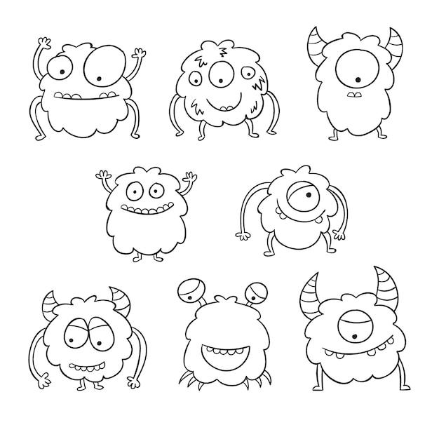 Lindo colorante para niños con colección de monstruos vector gratuito
