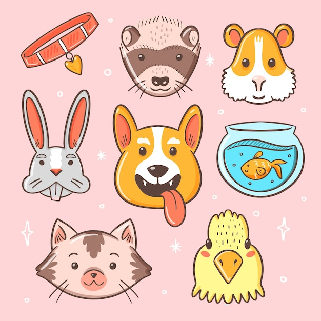 Lindo concepto de mascotas diferentes vector gratuito
