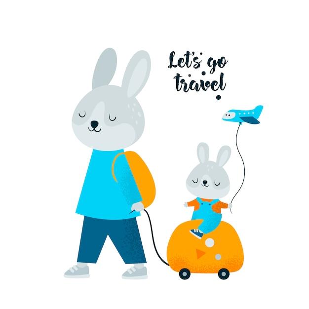 Lindo conejito conejo con bolsa ir a fin de semana de viajes de verano. Vector Premium