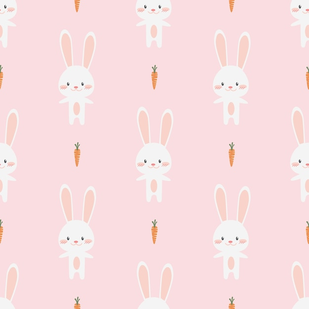 Lindo conejito de conejo poco dibujos animados doodle de patrones ...
