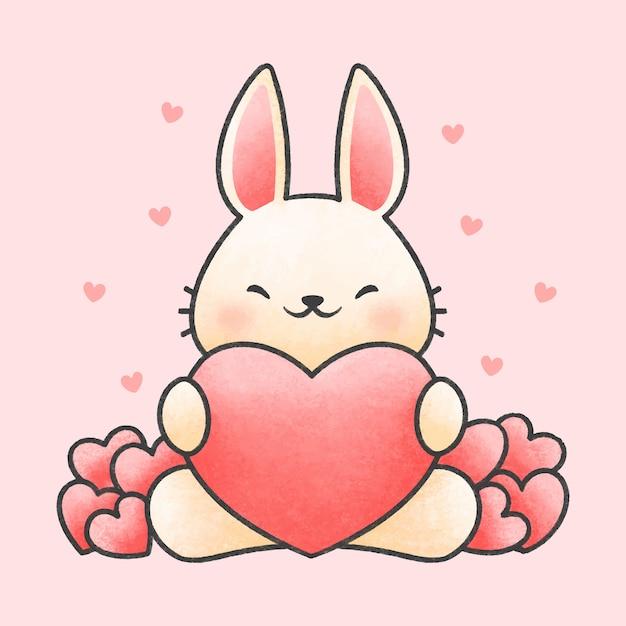 Vector Premium Lindo Conejo Abrazando Corazon Dibujos Animados Estilo Dibujado A Mano