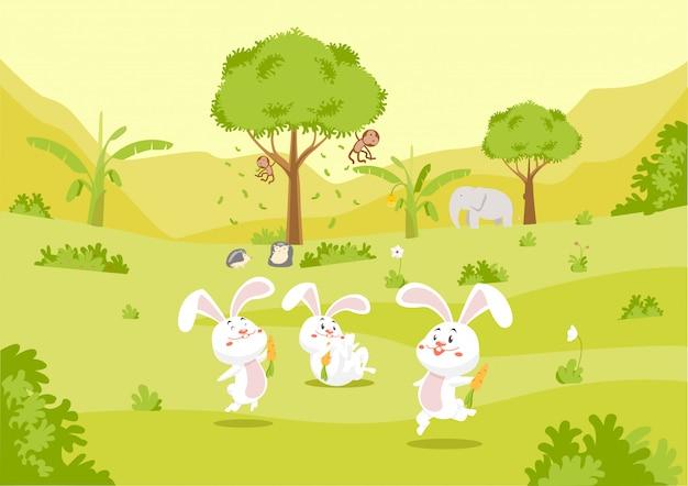 Lindo conejo y amigos en la naturaleza Vector Premium
