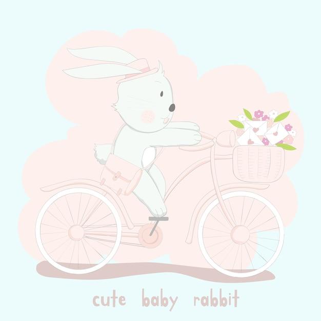 El lindo conejo bebé en bicicleta rosa Vector Premium