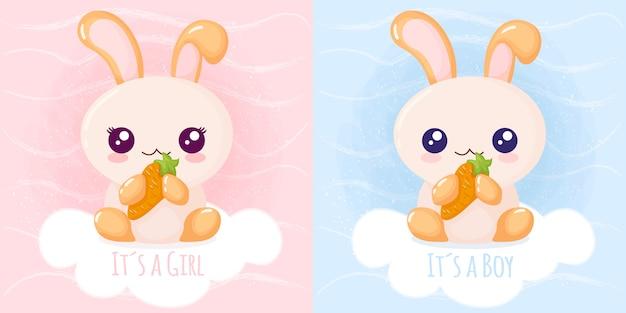 Lindo conejo es una niña, es un niño Vector Premium