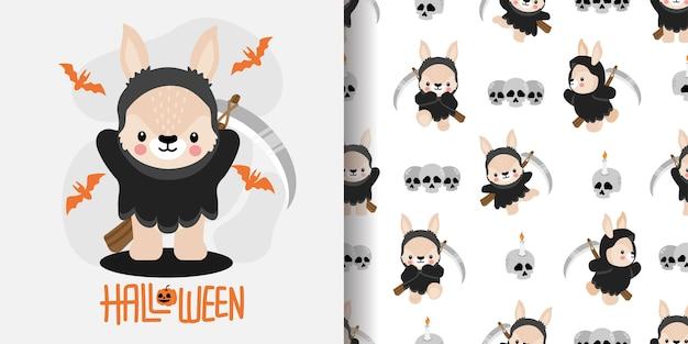 Lindo conejo de halloween conejito dibujos animados doodle ilustración de patrón inconsútil Vector Premium