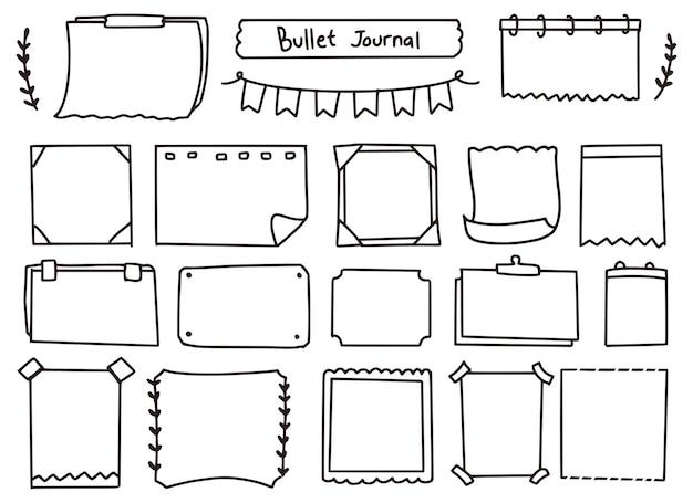 Lindo conjunto de doodle de notas y diario de balas Vector Premium