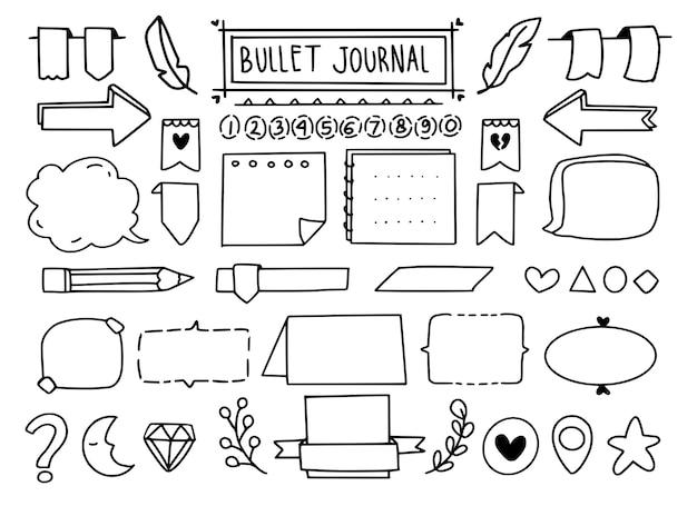 Lindo conjunto de elementos de doodle de bullet journal Vector Premium