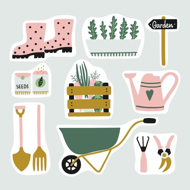 Lindo conjunto de elementos de jardín pegatinas. Vector Premium