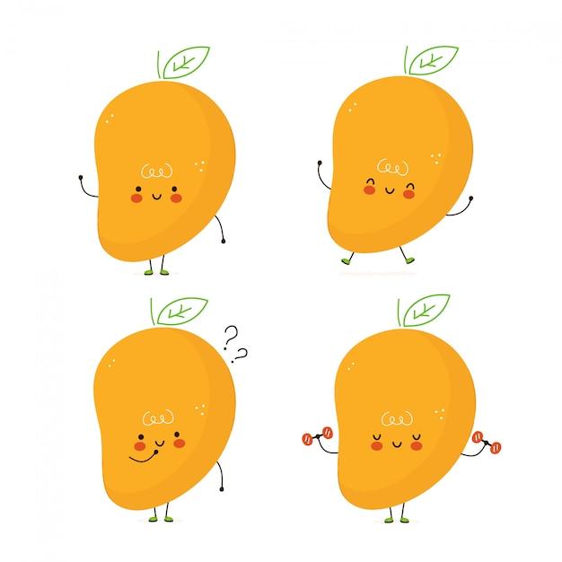 Lindo conjunto de fruta de mango feliz. aislado en blanco diseño de ilustración de personaje de dibujos animados de vector, estilo plano simple. paquete de caracteres de mango, concepto de colección Vector Premium