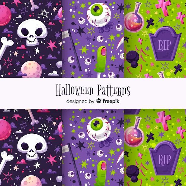 Lindo conjunto de patrones de halloween vector gratuito