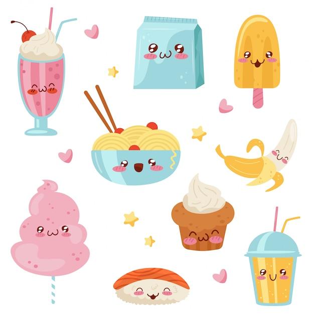 Lindo conjunto de personajes de dibujos animados de comida kawaii, postres, dulces, sushi, comida rápida ilustración sobre un fondo blanco Vector Premium