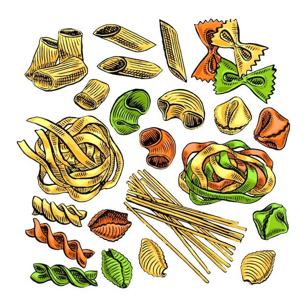 Lindo conjunto de varios tipos de pasta. ilustración dibujada a mano Vector Premium
