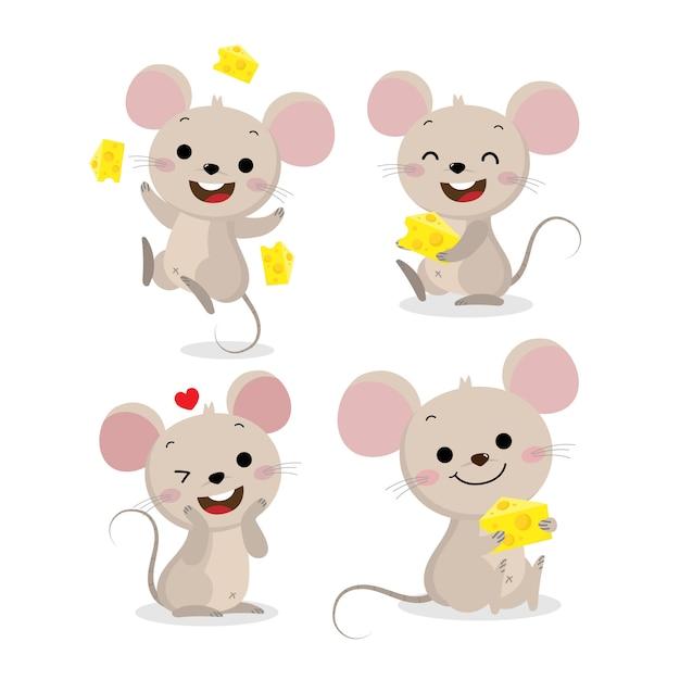 Lindo conjunto de vectores de ratón y queso Vector Premium