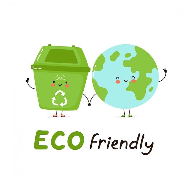 Lindo cubo de basura feliz y planeta tierra. tarjeta ecológica. aislado en blanco diseño de ilustración de personaje de dibujos animados de vector, estilo plano simple. reciclaje, concepto de basura clasificada Vector Premium