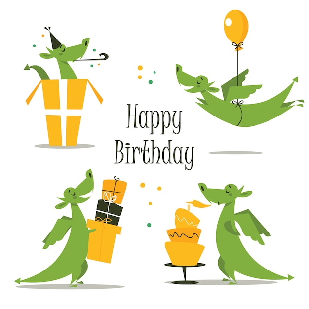 Lindo cumpleaños dragon, ilustración vectorial Vector Premium