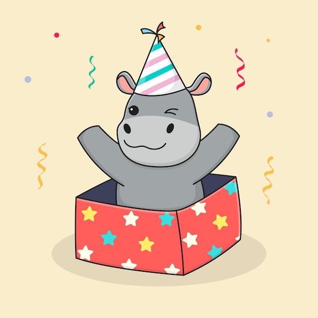 Lindo cumpleaños hipopótamo en caja Vector Premium