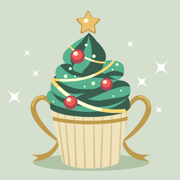 El lindo cupcake de árbol de navidad con estrella y cinta dorada Vector Premium