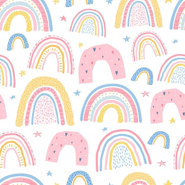 Lindo, delicado patrón transparente con un arco iris. ilustración para el diseño de la habitación infantil. vector Vector Premium