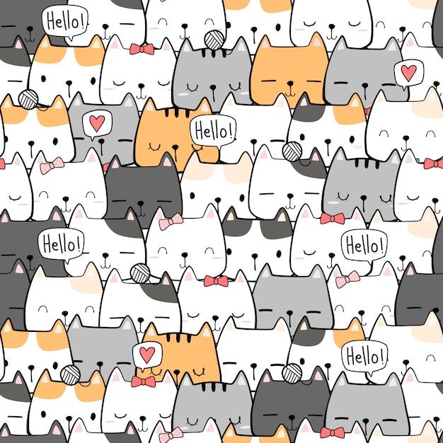 Lindo dibujo a mano gato gatito dibujos animados doodle de patrones sin fisuras Vector Premium