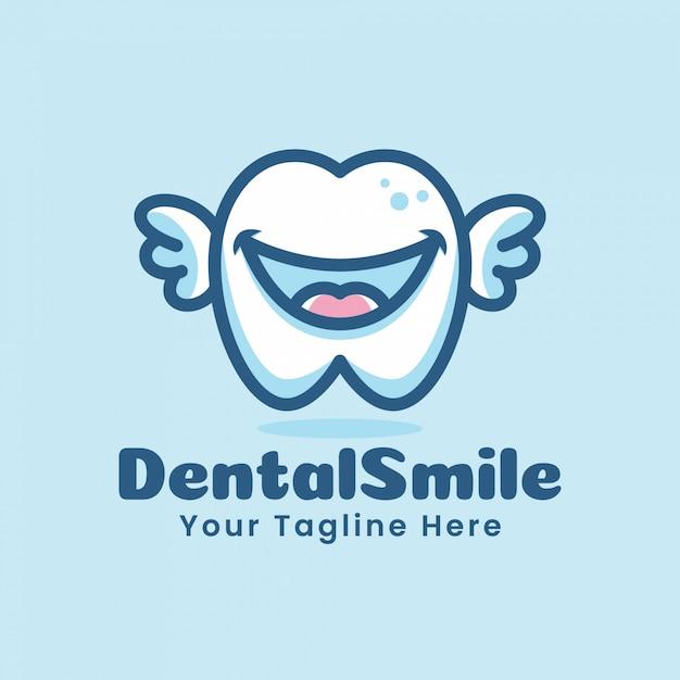Lindo diente dental dientes dibujos animados logo personaje ilustración volando con alas Vector Premium