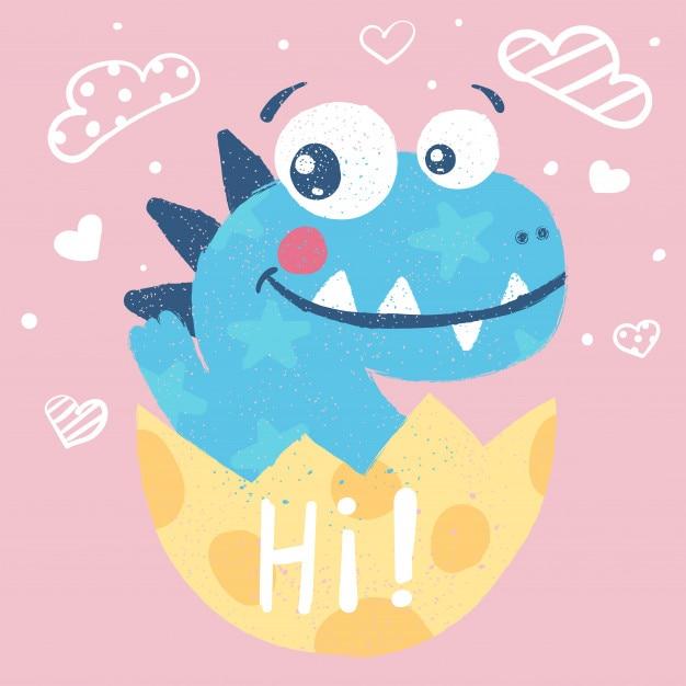 Lindo dino, ilustración de dinosaurio Vector Premium