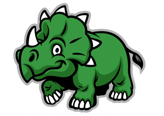 Lindo dinosaurio triceratops Vector Premium