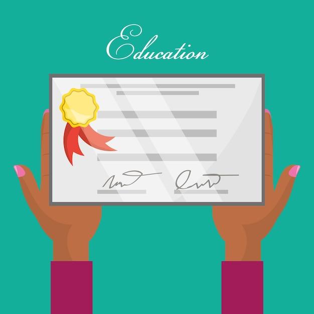 Lindo diploma de graduación en las manos | Descargar Vectores Premium