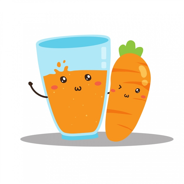 Lindo Diseno De Vector De Jugo De Zanahoria Fresca Feliz Vector Premium La zanahoria es una verdura muy rica vitamina a que se puede comer cruda, aliñada o cocida. https www freepik es profile preagreement getstarted 9384665