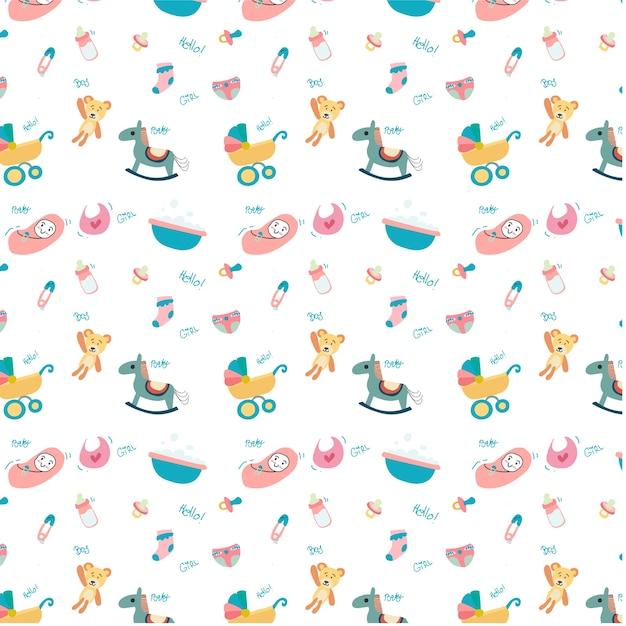 Lindo doodle bebé juguete cosas patrón sin costuras | Descargar ...