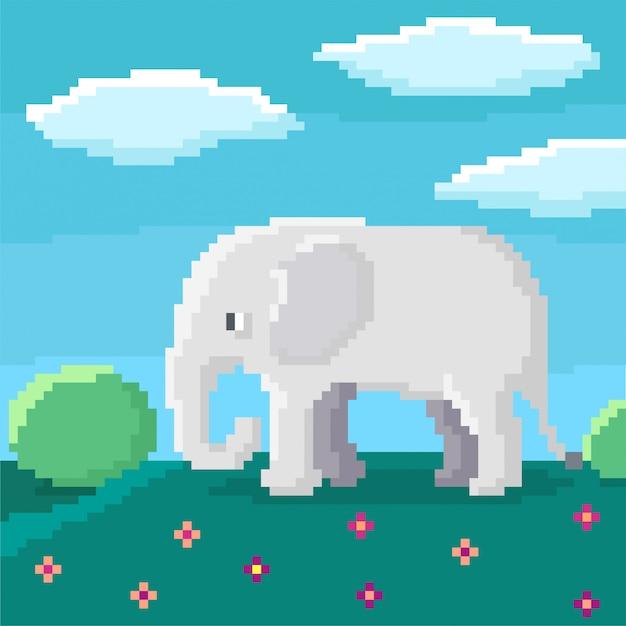 Lindo elefante de 8 bits está caminando en una colina. arbustos, cielo y nubes en el fondo. ilustración brillante de píxeles. Vector Premium