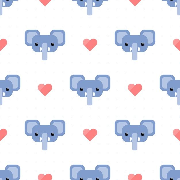 Lindo elefante azul con corazón y punto de patrones sin fisuras Vector Premium