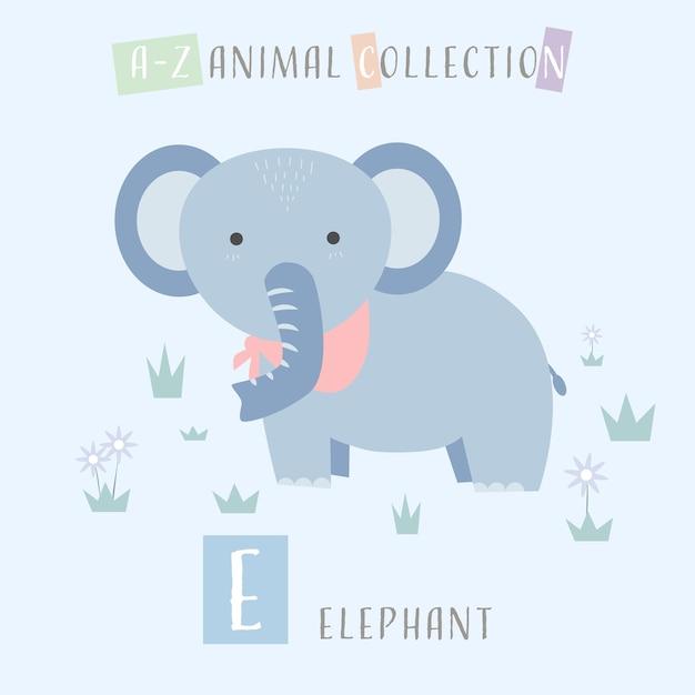 Lindo Elefante De Dibujos Animados Doodle Alfabeto Animal E