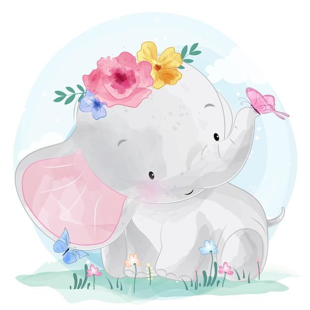 Lindo elefante con flor Vector Premium