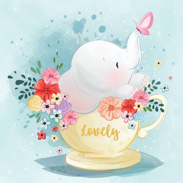 Lindo elefante en la taza de té de primavera Vector Premium