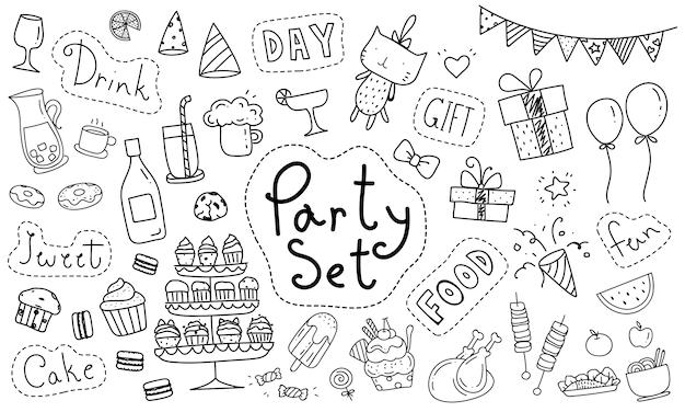 Lindo elemento de fiesta doodle dibujado a mano Vector Premium
