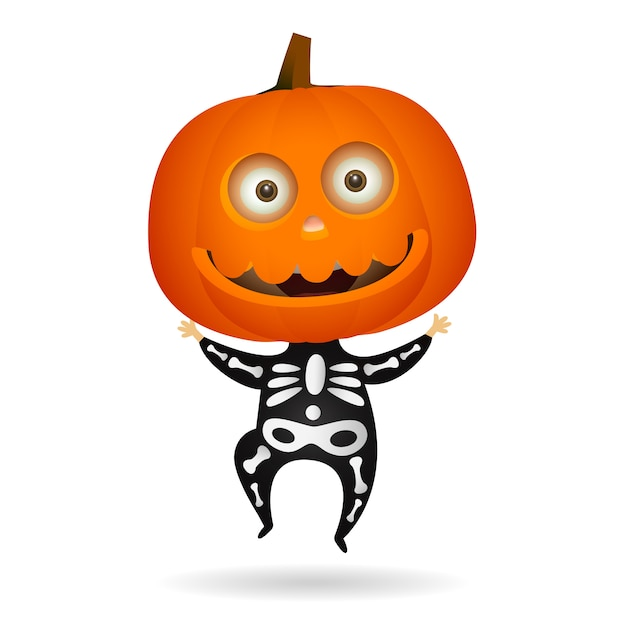 Lindo esqueleto de halloween vector gratuito