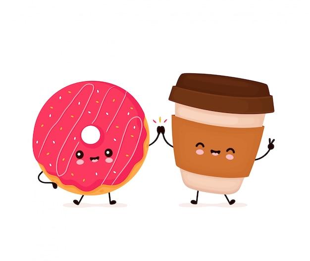 Lindo feliz sonriente donut y taza de café. diseño de ilustración de personaje de dibujos animados plano. aislado sobre fondo blanco. donut, concepto de menú de panadería Vector Premium
