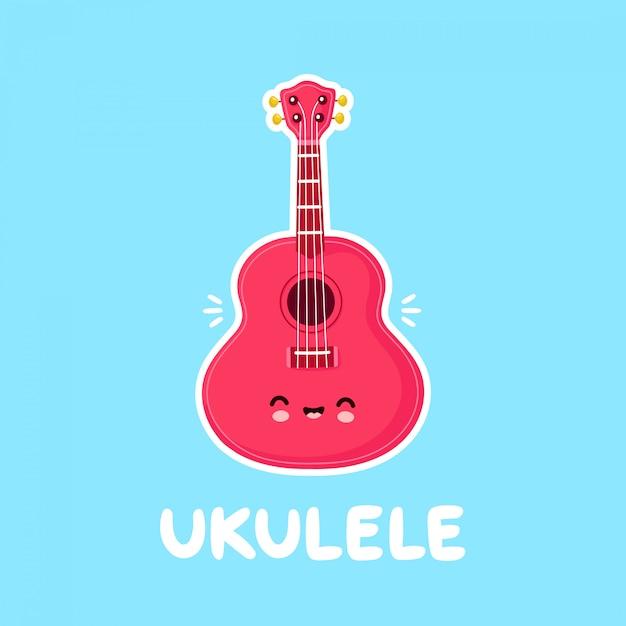 Vector Premium | Lindo feliz sonriente ukelele guitarra. diseño de  ilustración de personaje de dibujos animados plano. aislado sobre fondo  blanco. guitarra ukelele, concepto de mascota de logo musical