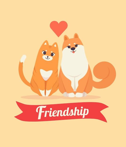 Lindo fondo de concepto de día de amistad gato y perro Vector Premium