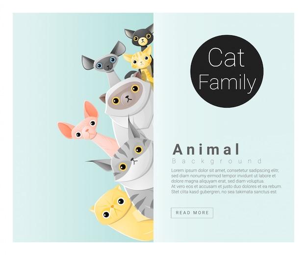 Lindo fondo familiar de animales con gatos. Vector Premium