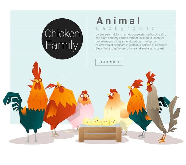 Lindo fondo familiar de animales con pollos. Vector Premium