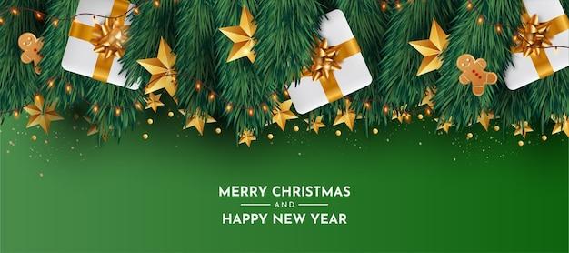 Lindo fondo navideño con decoración navideña realista vector gratuito