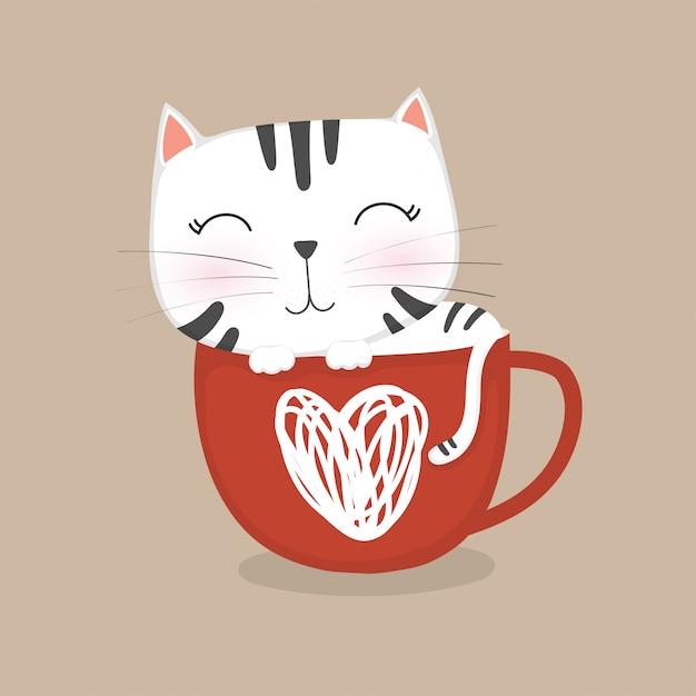 Lindo gatito durmiendo en una taza de café Vector Premium