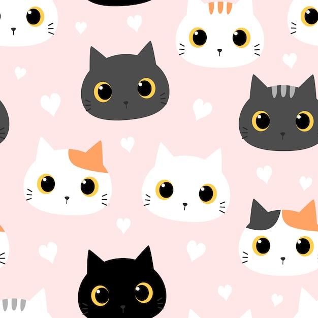 Lindo gatito gato con dibujos animados de corazón doodle de patrones sin fisuras Vector Premium