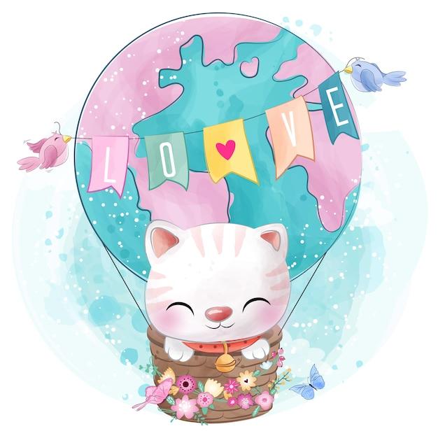 Lindo gatito en el globo de aire Vector Premium