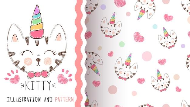 Lindo gatito, unicornio - patrón transparente Vector Premium