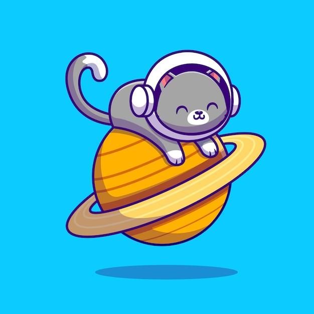 Lindo gato astronauta acostado en el planeta. espacio animal vector gratuito
