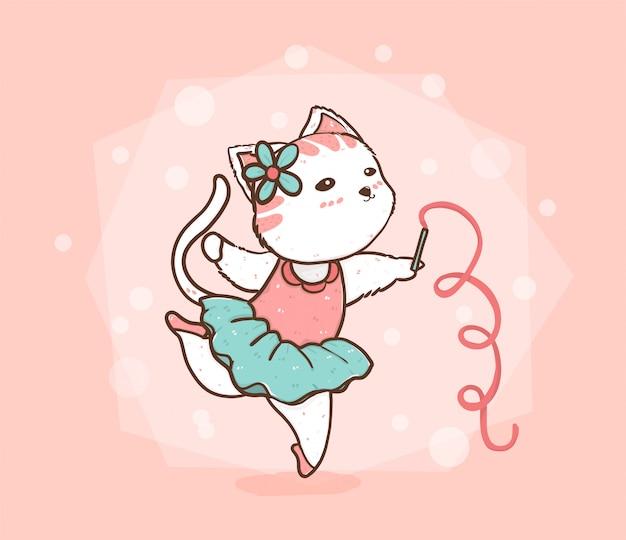 Lindo gato bailando ballet en vestido verde rosa y azul Vector Premium