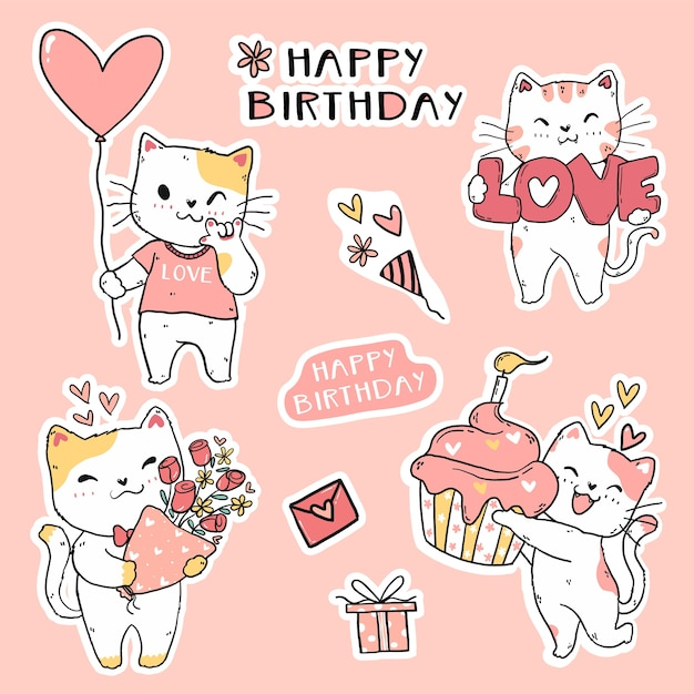 Lindo gato divertido cumpleaños conjunto elemento arte doodle para pegatina, diario, imprimible y tarjeta de felicitación Vector Premium