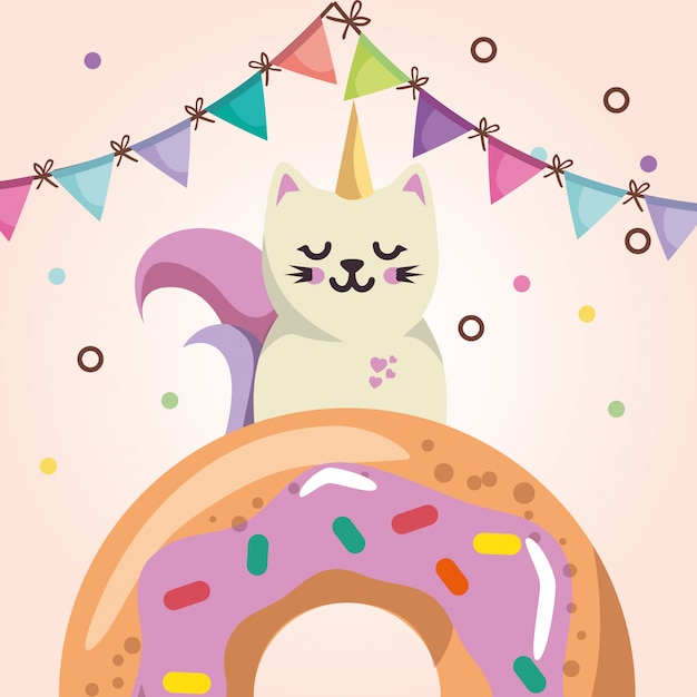 Lindo gato con donut dulce kawaii personaje tarjeta de cumpleaños vector gratuito